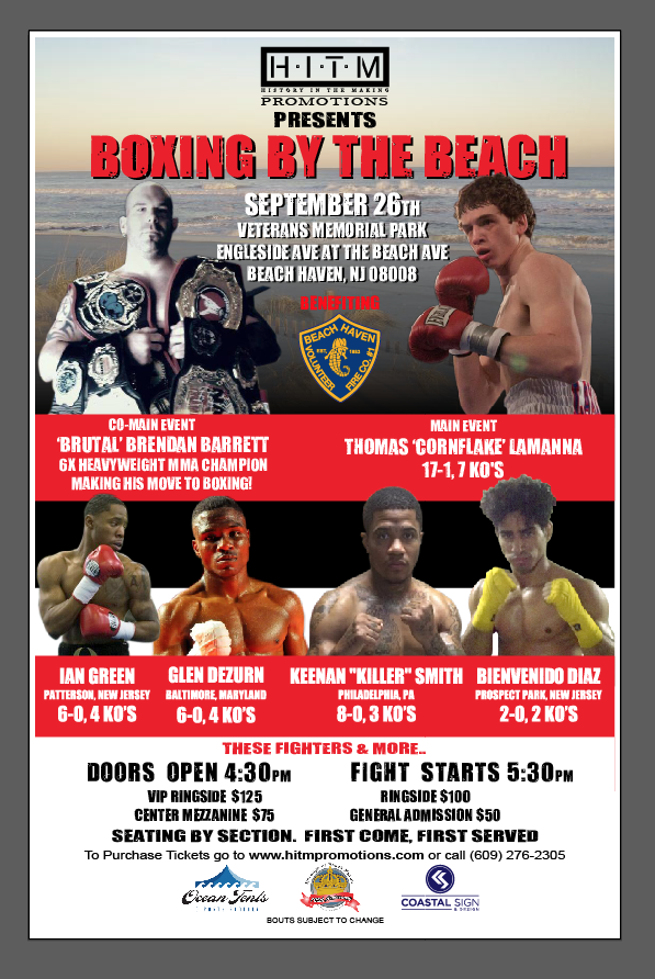 Press Release: Sept 26th Boxing By The Beach